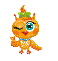 cute owl cartoon character vector image vector image