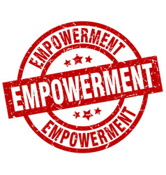 Empowerment round red grunge stamp vector