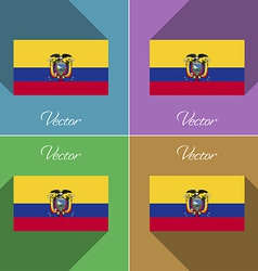 Flags Ecuador Set of colors flat design and long vector image vector image