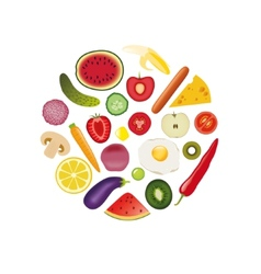 foods in circle vector image vector image