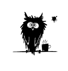 Funny owl black silhouette sketch for your design vector
