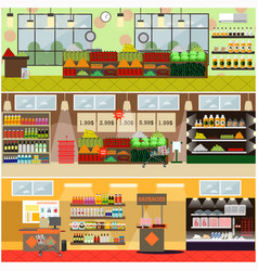 Grocery store or supermarket interior flat vector