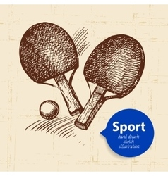 Hand drawn sport object sketch ping pong vector