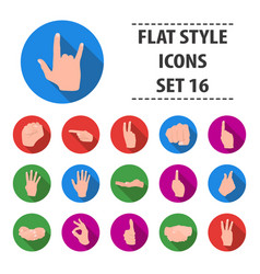 hand gestures set icons in flat style big vector image vector image