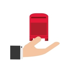 Hand holding mailbox icon vector