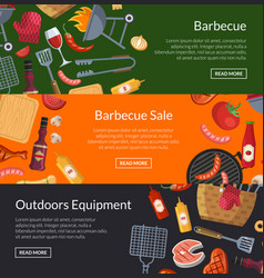 horizontal banner templates for barbecue or vector image vector image