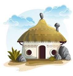 House with cactus and rocks under vector