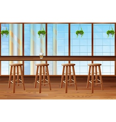 Inside of coffee shop with glass window vector