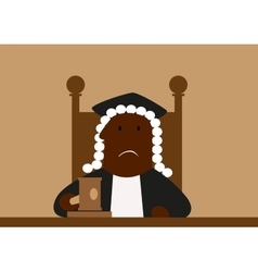 Judge in his wig passing judgment vector