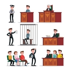 Judicial system icons set vector