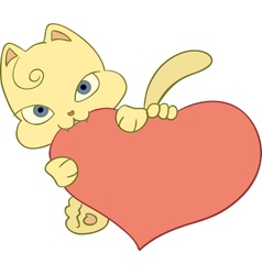 kitten with heart vector image vector image