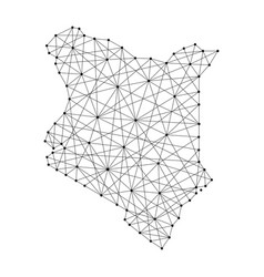 map of kenya from polygonal black lines and dots vector image vector image