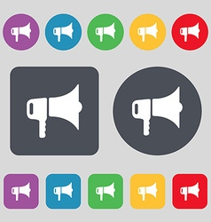 Megaphone icon sign a set of 12 colored buttons vector