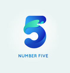 Number five in trend shape style vector