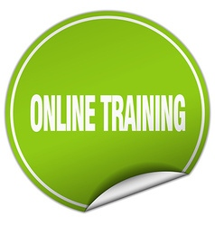 Online training round green sticker isolated on vector