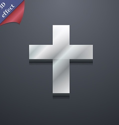 Religious cross christian icon symbol 3d style vector