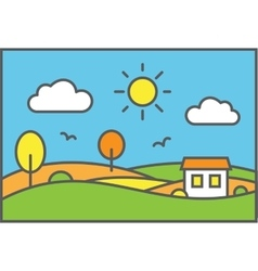 Rural landscape with meadow field and small house vector image vector image