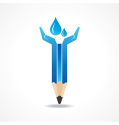 Save water concept with pencil hands vector image vector image