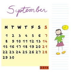 september 2014 kids calendar vector image vector image