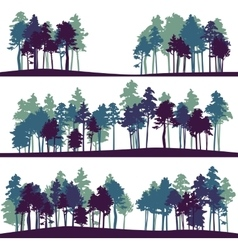set of different landscape with pine trees vector image vector image
