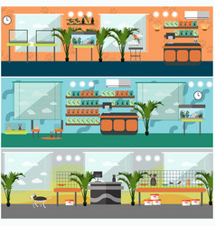 Set of pet shop interior concept posters vector