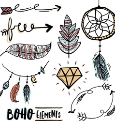 Sketches elements in boho style vector