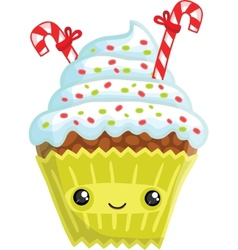 Smiling cupcake vector image vector image