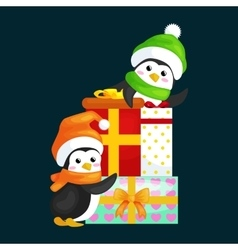 Two happy cute christmas penguin in hat and scarf vector