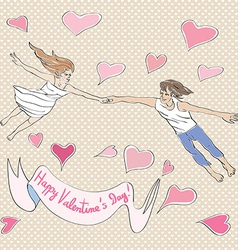 Valentine flying vector image vector image