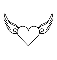 wing fly drawing tattoo style isolated icon vector image vector image