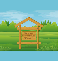 Wood sign in summer forest vector