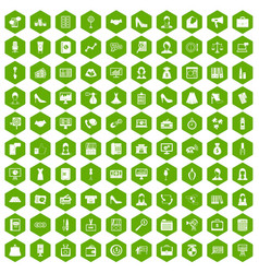 100 business woman icons hexagon green vector