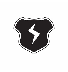 Shield with lightning bolt icon simple style vector