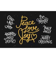 Collection of hand written christmas phrases vector