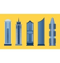 Skyscraper flat icon set isolated vector
