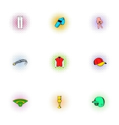 Sport with bat icons set pop-art style vector