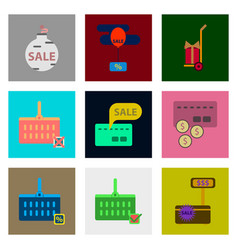 flat assembly icons of set gifts and discounts vector image