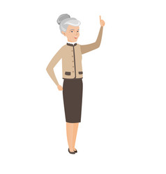 Caucasian business woman pointing forefinger up vector