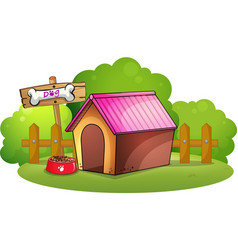 A doghouse near the wooden fence vector