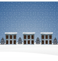 Winter landscape with houses and christmas trees vector