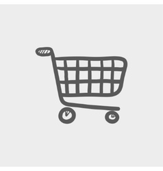 Shopping cart sketch icon vector