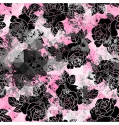 Black grunge roses on trash pink background vector