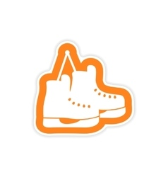 Paper sticker on white background pair of skates vector