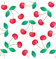 Red cherries fruit seamless pattern vector