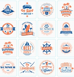 Set of retro summer holidays design elements vector