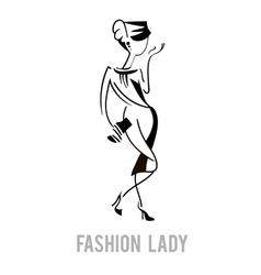 Elegant fashion model lady design vector
