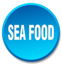 Sea food blue round flat isolated push button vector