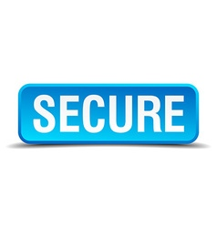 Secure blue 3d realistic square isolated button vector