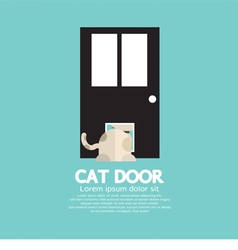 Cat passing through the door for cat vector