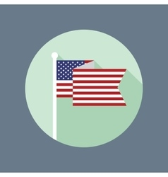 Usa flag on flagpole flat icon vector